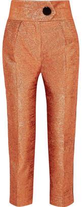 Petar Petrov Velvet-trimmed Lamé Straight-leg Pants - Copper