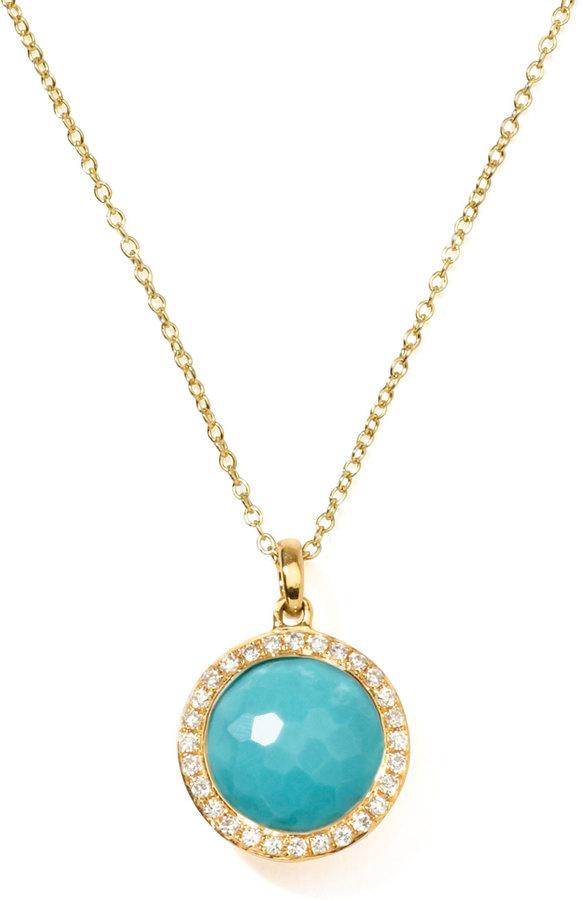 Ippolita 18k Gold Rock Candy Mini Lollipop Diamond Turquoise Necklace
