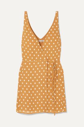 Reformation Anchorace Polka-dot Georgette Mini Wrap Dress - Mustard