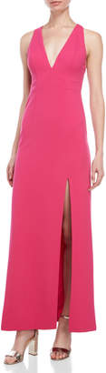 Aidan Mattox Bright Pink Cutout Back Gown