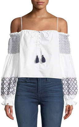 Rebecca Minkoff Tiffany Off-the-Shoulder Embroidered Poplin Top