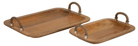 Asst. of 2 Wood-and-Jute Trays, Brown