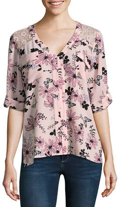 Hollywould 3/4 Sleeve Y Neck Woven Blouse-Juniors