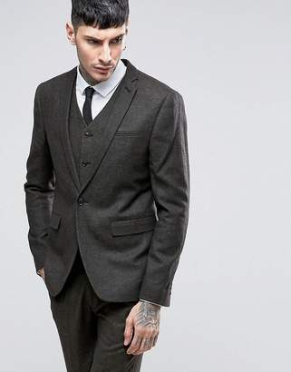 Asos Slim Wool Rich Suit Jacket in Charcoal and Khaki Twist