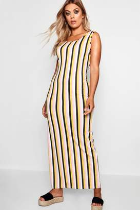 boohoo Plus Tonal Stripe Scoop Neck Jersey Maxi Dress