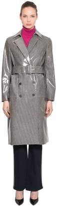 Calvin Klein Coated Check Wool Blend Trench Coat