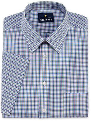 STAFFORD Stafford Travel Easy Care Broadcloth Short Sleeve Big And Tall Short Sleeve Broadcloth Plaid Dress Shirt