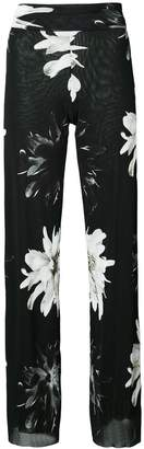 Fuzzi floral print high-waisted trousers