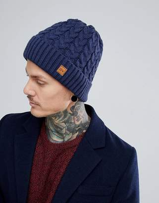 Dead Vintage Cable Beanie Hat Navy