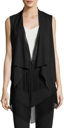 T Tahari Rosette Draped Eyelet Fringe Vest, Black $79 thestylecure.com