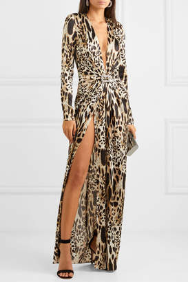 Alexandre Vauthier Crystal-embellished Animal-print Stretch-silk Satin Gown - Leopard print