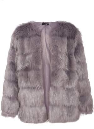 Quiz Grey Faux Fur Panel Jacket