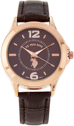 U.S. Polo Assn. USC60007 Rose Gold-Tone & Brown Croc-Embossed Watch
