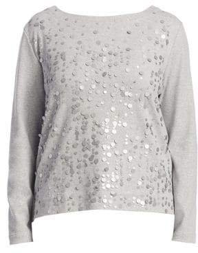 Joan Vass Women's Champange Pink Sequin Top - Cloud Heather - Size XXL