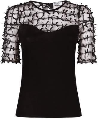 Claudie Pierlot Sheer Applique Panel T-shirt