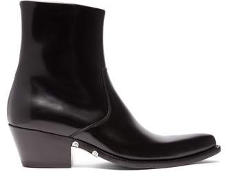 Calvin Klein Tex Polished Leather Ankle Boots - Mens - Black
