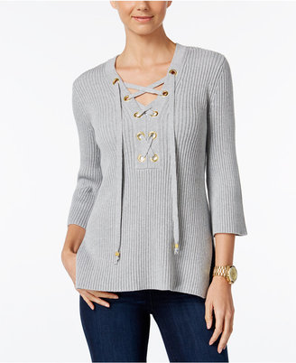MICHAEL Michael Kors Lace-Up Tunic Sweater $110 thestylecure.com