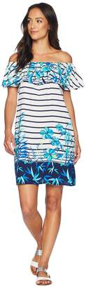Tommy Bahama Tropical Engineered Over the Shoulder Ruffle Dress Cover-Up Women's Swimwear