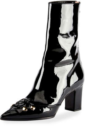 Olivier Theyskens Swanson Patent Hook-and-Eye Boots Black