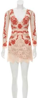 For Love & Lemons Lace-Trimmed Mesh Dress Beige Lace-Trimmed Mesh Dress