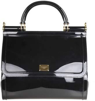 Dolce & Gabbana Sicily Hand Bag In Rubber Black Color