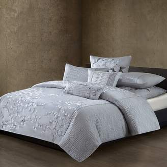 Natori White Orchid Quilted Duvet Cover, King