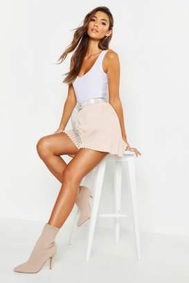 boohoo Woven Pleated Hem Mini Skirt