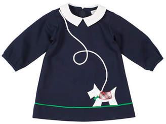 Florence Eiseman Girl's Scottie Applique Long-Sleeve Dress, Size 12-24 Months