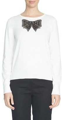 CeCe Lace Bow Inset Sweater $89 thestylecure.com