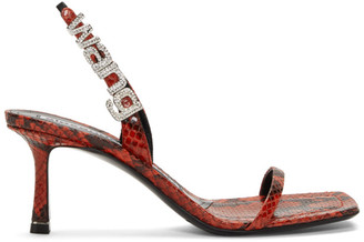 Alexander Wang Red Snake Ivy Heeled Sandals