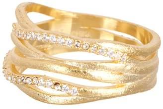 Rivka Friedman 18K Yellow Gold Clad Simulated Diamond Accent Satin Band Ring