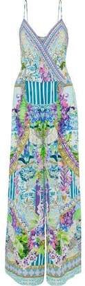 Camilla Salvador Fields Forever Embellished Printed Silk Crepe De Chine Jumpsuit