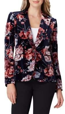 Tahari Arthur S. Levine Petite Floral Velvet Blazer