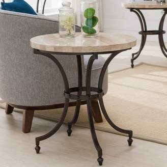 Generic Leick Home Round Travertine Stone Top Side Table with Rubbed Bronze Metal Base