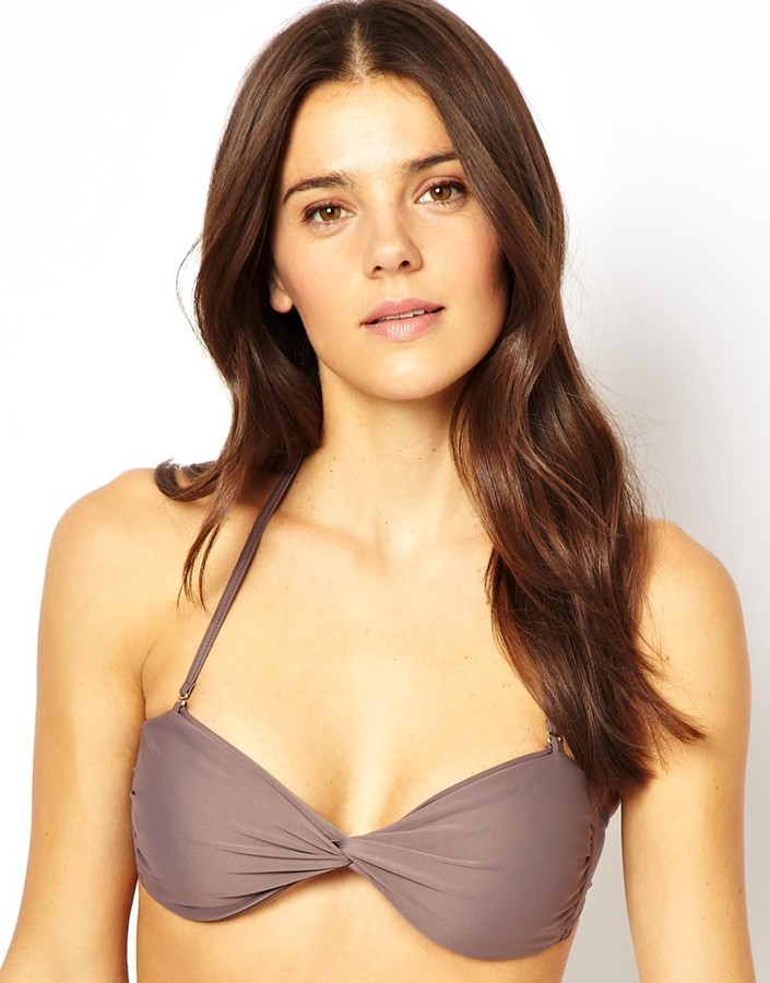Mileti Twisted Bandeau Bikini Top - Grey
