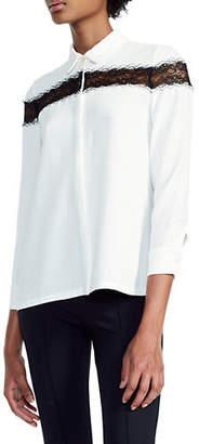 Maje Ciloi Silk-Blend Lace Trim Shirt