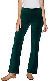 Denim & Co. Petite Stretch Velour Straight LegPull-On Pants