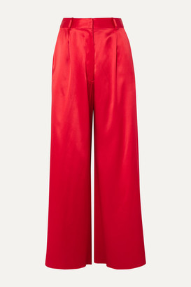 Michael Lo Sordo Belle Silk-satin Wide-leg Pants - Red