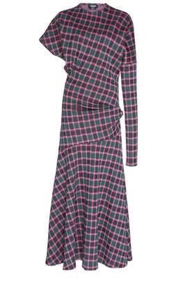 Calvin Klein Asymmetric Cotton Jacquard Draped Dress