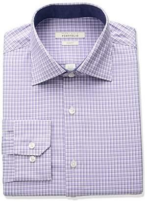 Perry Ellis Men's Slim Fit Adjustable Collar Perf Mini Check Dress Shirt