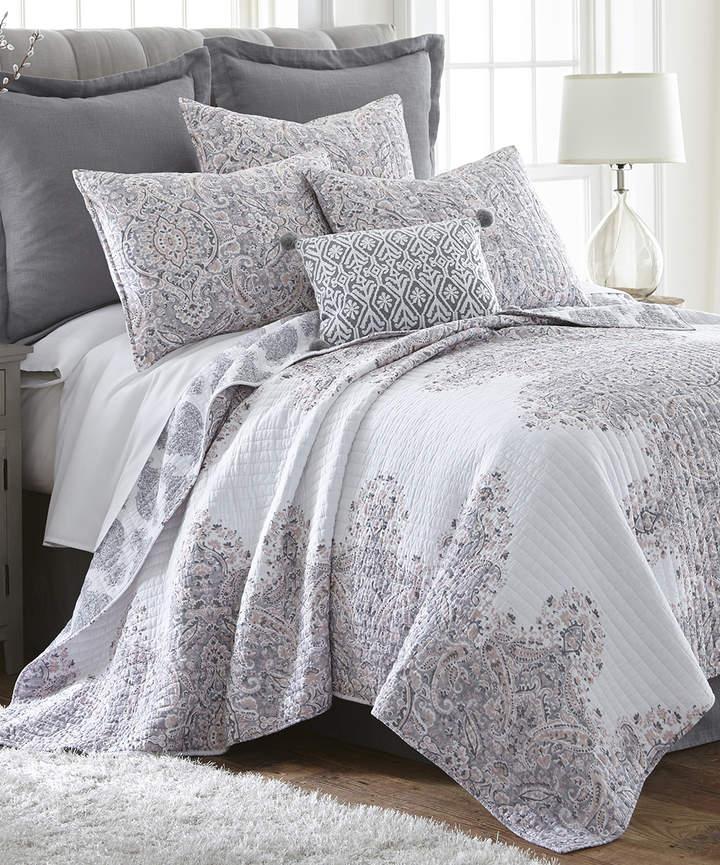 White & Gray Floral Textures Quilt Set