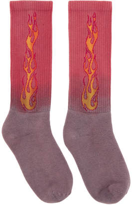 Palm Angels Purple and Red Flames Socks