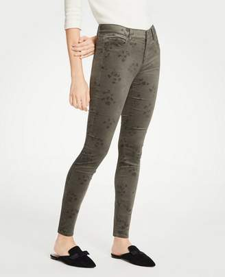Ann Taylor Petite Modern Skinny Embossed Floral Velvet Jeans