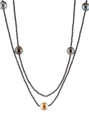 11-12MM Tahitian Pearl and Spinel Endless Necklace