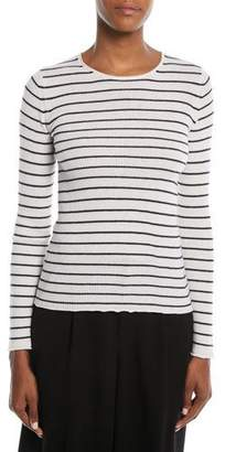 Vince Striped Rib Cashmere Crewneck Sweater