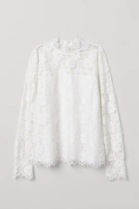 H&M Long-sleeved Lace Top - White