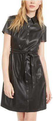 Bar III Short-Sleeve Faux-Leather Shirtdress