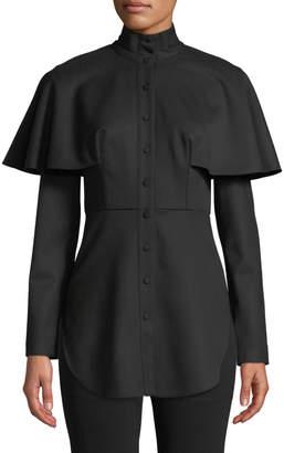 Sara Battaglia Cape Button-Down Wool Shirt