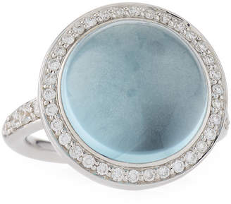 Mimi Milano Round 18k White Gold Blue Topaz & Diamond Ring Size 6.75