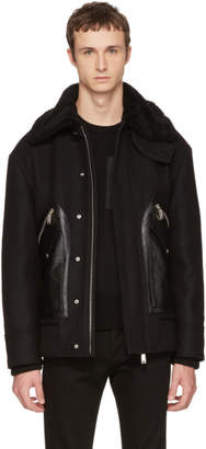 DSQUARED2 Black Oversized Wool Bomber Jacket
